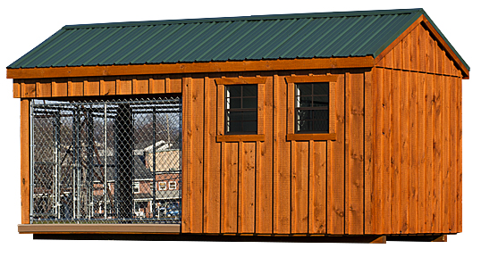 8 x 16 Custom Double Dog Kennel with Feed Room